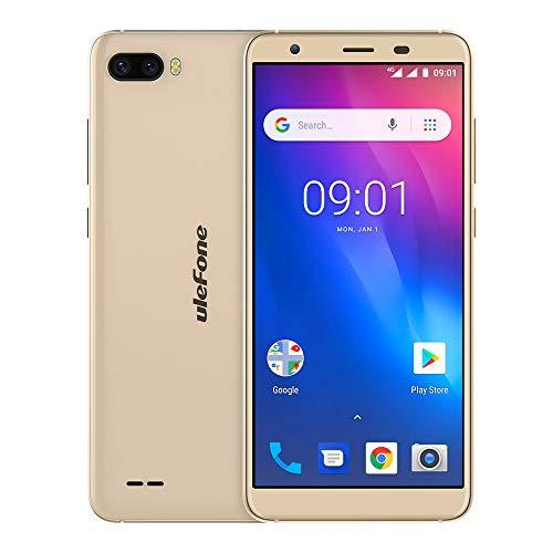 Fulltime E-Gadget Handy 5,5 Zoll 18: 9 MTK6739 Quad Core RAM 1GB + ROM 16GB 13MP + 5MP Gesicht Entsperren Android 8.1 4G Dual-SIM Smartphone (Gold)