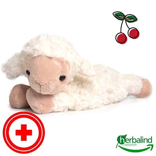 Herbalind Wärmekissen für Babys Schaf (Frieda) - Kirschkernkissen, Flauschiges wärmendes Stofftier 25x23 cm als Wärmflasche mit Körnerkissen