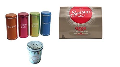 Senseo Klassisch 16 Pads + Schokostreuer aus Metall und 4 Paddosen ideales Geschenk für Kaffeetrinker