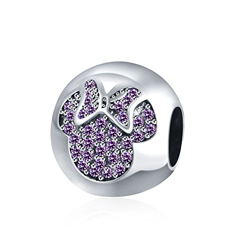 Nykkola - ciondolo in argento sterling 925 con cristalli swarovski element, a forma di minnie, per braccialetti pandora dalla forma arrotondata, argento, colore: purple, cod. xgpdrsvp040-a