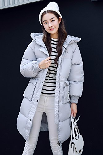 Damen Winter Langer Mantel Parka Jacke Ultra Dicke Steppmantel Gefüttert mit Kapuze, 4 Farben,S-XXL Grau