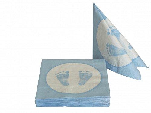 20 Servietten Babyfüße Fußabdruck Hellblau Taufe Geburt Junge Babyparty - 6