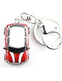 Quadiva - Adorno colgante para bolso con diseño de coche, color: plateado, rojo y blanco, con cristal