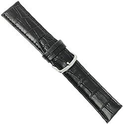 "Uhrbanddealer 20mm Ersatzband Uhrenarmband ""Trend"" XL extra Lang Alligator Print Kalb Leder Band Schwarz 7748201s"