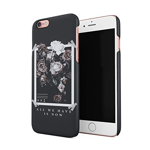 All We Have Have Is Now Pale Weiß & Rosa Wild Roses Tumblr Dünne Rückschale aus Hartplastik für iPhone 6 & iPhone 6s Handy Hülle Schutzhülle Slim Fit Case cover (Paisley-snap Rosa)