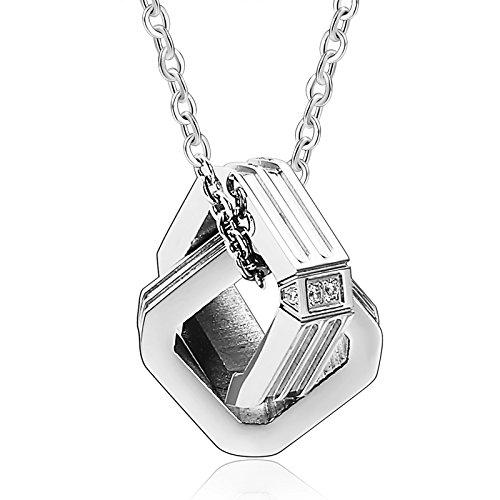 Epinki Edelstahl Partnerketten Partner Anhänger Halskette Cubic Zirkonia Zwei Verriegelt Quadrat Silber (Glänzende Das Kostüm Zwillinge)