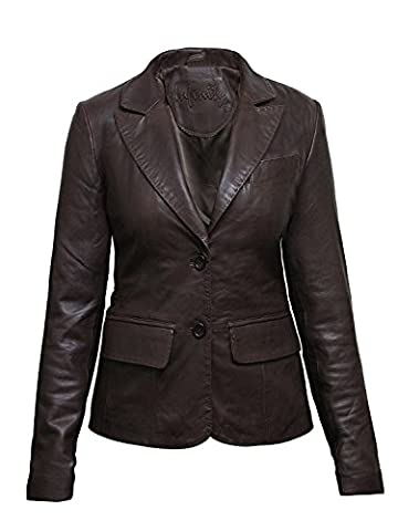 Brandslock Mesdames Femmes Slim Fit cuir Biker Blazer Veste Manteau Designer Regardez (3XL/18, Marron)