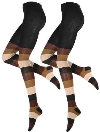 2 Stück Warme und Modische Damen Baumwoll Strumpfhose mit dezenten Blockstreifen in braun-beige kombiniert, Strickstrumpfhose von Vincent Creation