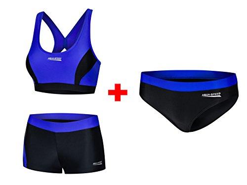 Aqua Speed® Fiona Set - Tankini + Bikinihose | Zweiteiler | VITA-Gewebe | Resistent gegen Chlor und Sonnencreme/-öl, Größe:40, Farbe:14 / Black Blue + Hose