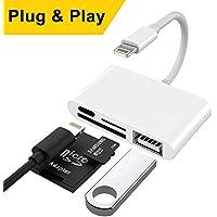 Lector de tarjetas SD con cable lightning, 4 en 1 lectura de tarjetas de memoria de cámaras, adaptador lightning a usb para iPhone, iPad, iPad Mini y iPad Air