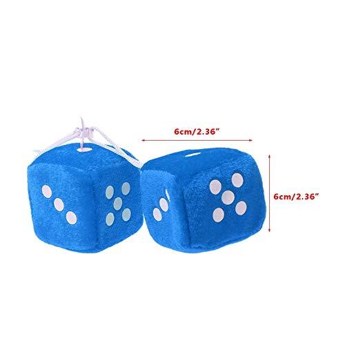 Yichener 1 Paar Fuzzy Dice Dots Rückspiegel Aufhänger Dekoration Auto Styling Zubehör, blau (Dice Auto Blau Fuzzy Für)