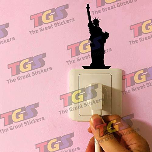 wonder4life Statue of Liberty Silhouette Living Room Socket Sticker Carving Vinyl Bedroom Switch Sticker