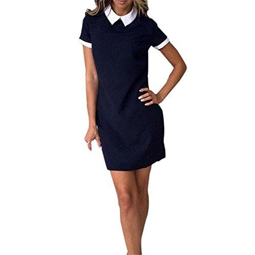 hansee Frauen Casual Kurze Ärmel Umlegekragen gerade Kleid Mini Kleid, damen, (Size Fancy 80s Dress Plus)