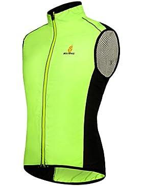 Skysper Chaleco de ciclismo para hombre Unisex Paraviento chaqueta de la bicicleta ultrafinos sin mangas con cinta...