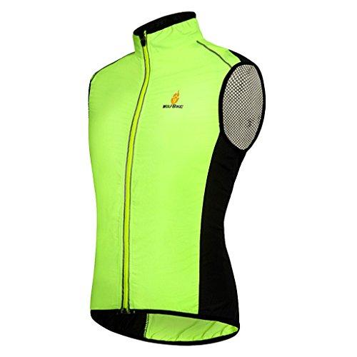 Skysper Gilet Antivento Senza Maniche per Ciclismo Running Sport in Primavera e Autunno Ultrasottile Traspirante Verde