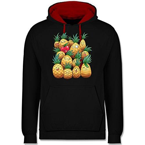 Comic Shirts - Süße Ananas Party - Kontrast Hoodie Schwarz/Rot