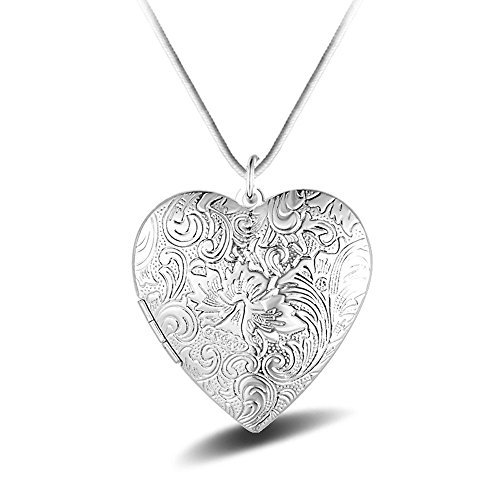 Winter's Secret Fashion Silver Plated Vintage Pattern Open Pendant Locket Necklace with Snake Chain
