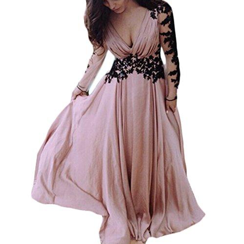 c3ebac0a Tomayth Mujeres Cuello V Vestidos de Fiesta Vestido Largo Retro de Flo