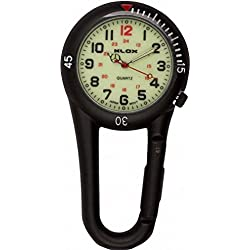 Klox Black Clip On Carabiner Metal Fob Watch Luminous Dial Paramedic Doctor Nurse Unisex Men Women
