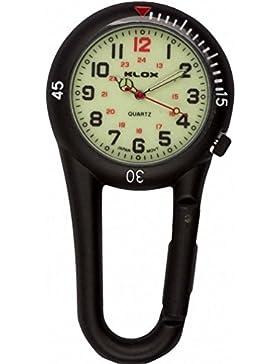 Klox schwarz anklippbarer Karabiner metall Fob Uhr leuchtende Waehltastatur Sanitaeter Arzt Krankenschwester Unisex...