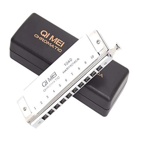 Qiaoxianpo01 Chromatische Mundharmonika, 10 Löcher, C-Schlüssel, silberfarben, geeignet für Anfänger, Fortgeschrittene, Aufführungen, Wettkämpfe etc. Hochwertiges Geschenk für Musikliebhaber silber
