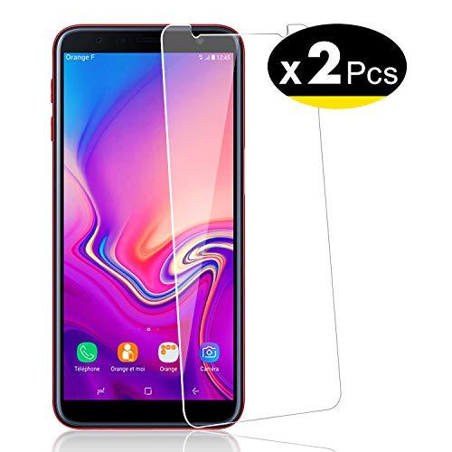 NEW'C PanzerglasFolie Schutzfolie für Samsung J6 Plus (J6+), [2 Stück] Frei von Kratzern Fingabdrücken & Öl, 9H Härte, HD Bildschirmschutzfolie, 0.33mm Ultra-klar, kompatibelSamsung J6 Plus (SM-J610)