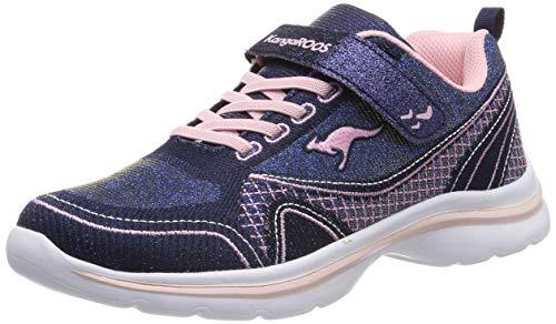 Kangaroos Leder-sneaker (KangaROOS Unisex-Kinder KangaGirl EV II Sneaker, Blau (Metallic Blue/Frost Pink 4057), 32 EU)