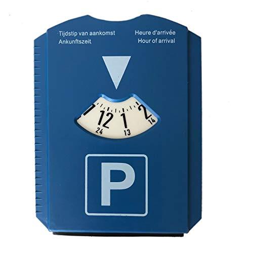 Megaprom Auto Pkw 24-Stunden Parkscheibe Parkuhr Parkzone Eisschaber Eiskratzer mit Gummilippe Kunstoff in Blau