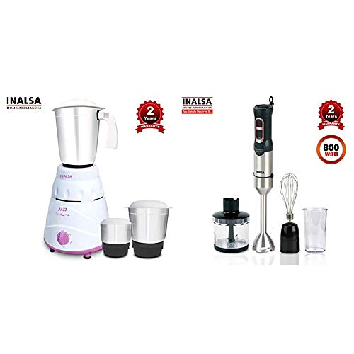 Inalsa Jazz 550-Watt Mixer Grinder + Inalsa Hand Blender Robot INOX 1000 Powerful 3 in 1