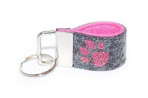 Mini Schlüsselanhänger aus Wollfilz mit Pfote dunkelgrau/rosa mit Glitzer