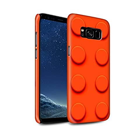 STUFF4 Gloss Hard Back Snap-On Phone Case for Samsung Galaxy S8/G950 / Red Design / Toy Bricks/Blocks Collection