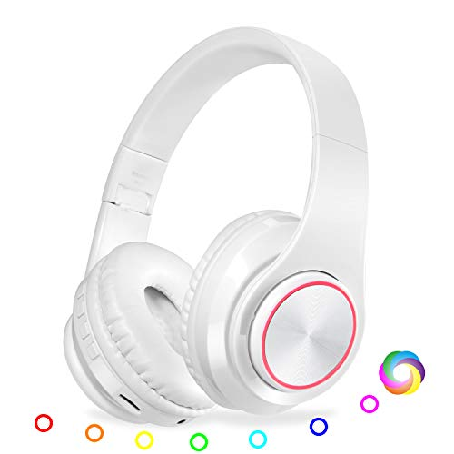 QLtech Kabelloser Over-Ear-Kopfhörer, Bluetooth Kopfhörer mit Mikrofon und LED-Licht,Funkkopfhörer für Fernseher, Wireless Headset für Handys Tablets,Laptops & PC,Faltbare/Leicht(Weiß) (Led-funk-kopfhörer)