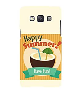 Happy Summer!, Have Fun!, Yellow, Coconut Water, Lovely Pattern, Printed Designer Back Case Cover for Samsung Galaxy A7 (2015) :: Samsung Galaxy A7 Duos (2015) :: Samsung Galaxy A7 A700F A700Fd A700K/A700S/A700L A7000 A7009 A700H A700Yd