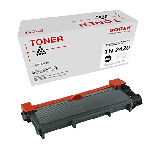 DOREE Cartuccia di toner compatibile per Brother TN2420 / TN2410, TN-2420 / TN-2410 1 TN2420 Nero,con chip