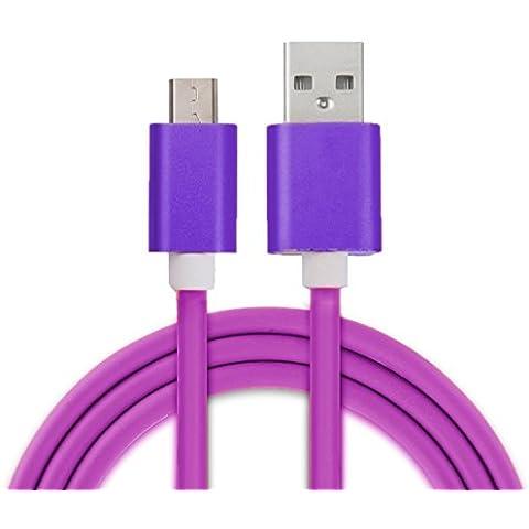 Wkae Cable Testa del metallo 3A micro corrente USB a USB 2.0 cavo di sincronizzazione di dati per Samsung Galaxy S7 / S6 / S6 Bordo / S6 Bordo + / Nota 5 Bordo, HTC, Sony ( Color : Purple )