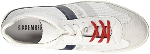 BIKKEMBERGS Herren ris-Er 842 Sneaker Bianco (White/blue)