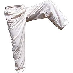 Panasiam Pantalones de tela para uso diario, deportes, yoga, correr etc., para personas altas a partir de 1,80m De 100% algodón. Weiß 122 cm