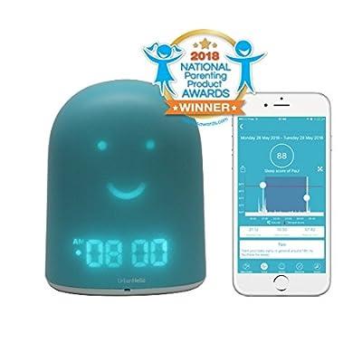 UrbanHello REMI - Réveil Enfant Jour Nuit éducatif et Suivi du Sommeil - Babyphone Audio avec alertes de Bruit 5-en-1 - Veilleuse - Enceinte Bluetooth - en Bleu
