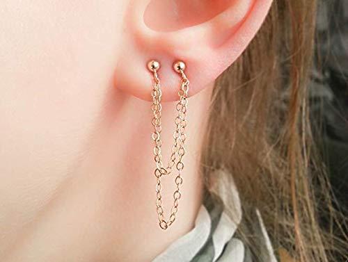 Doppel kette Ohrringe Gold mehrere Ohrstecker Set 2 Loch Lobe Piercing