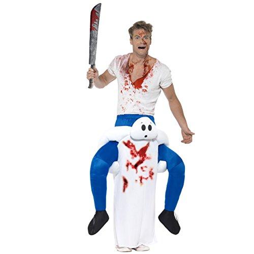 Oramics Halloween außergewöhnliches Horror Kostüm Gespenst Huckepack, Geist Trag Mich Piggyback mit Beinen inklusive Kunstblut-Spray und Spielzeug-Machete, witziges Herren Kostüm (Kreative Halloween Kostüme Für Männer)