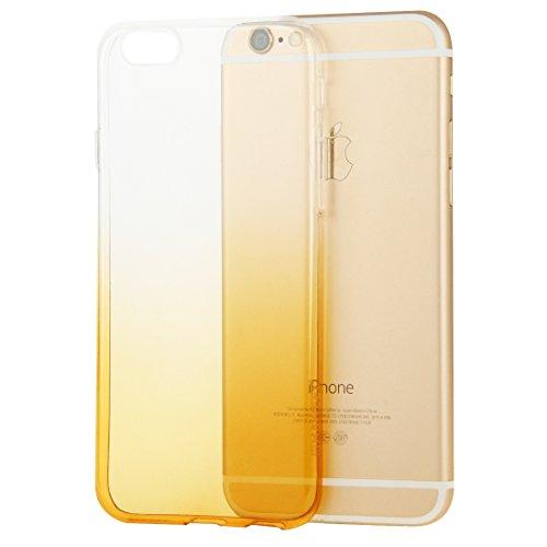 wortek Designer High Quality TPU Silikon - Case für iPhone 6 Plus / 6S Plus Schutz Hülle Halb Transparent Farbverlauf Schwarz Gelb