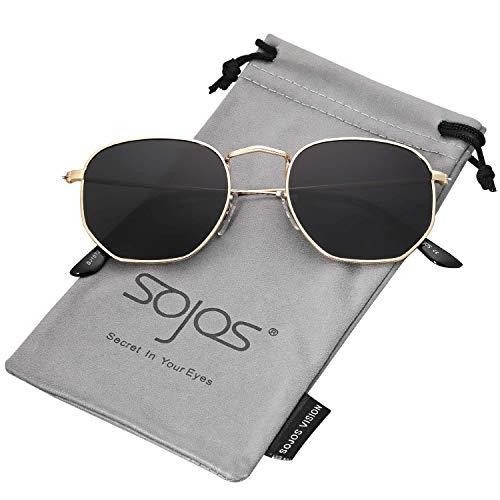 SOJOS Mode Polygon Sonnenbrille Damen Herren Verspiegelte Linse Leichte Unisex Brille SJ1072 mit Gold Rahmen/Grau Linse