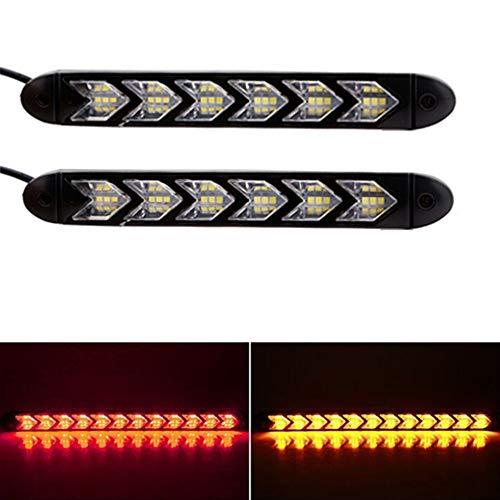 Preisvergleich Produktbild DSstyles 6 LEDs,  Auto-Blinker,  wasserfest,  Ritterfahrer,  Pfeilspitze,  Blinker,  fließendes DRL Red+Yellow Light