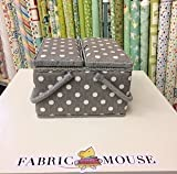 Colección de Valor: Caja de Costura hobbygift (L): Doble Tapa: Cuadrado: Gris Lino Lunares, Mezcla de algodón, 25x 25x 17cm