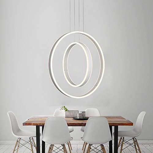 LED Esstisch Esszimmer-lampe Halogen Pendelleuchte Oval Dimmbar Modern Ringe Design Hängelampe Metall Fernbedienung Decke Leuchten für Wohnzimmer Schlafzimmer Küche Couchtisch Bar Dekor Lampen (Weiss)