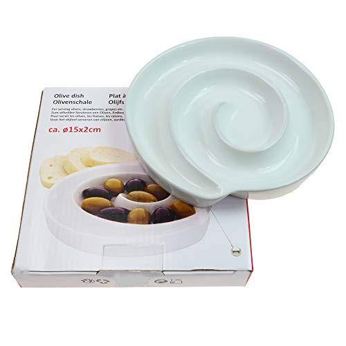 Rotix 2 x Olivenschale Ø 15 cm Porzellan Olivenschnecke Oliventeller Beilagenschale 2er-Set