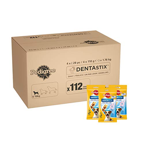 Pedigree DentaStix Daily Oral Care Zahnpflegesnack für kleine Hunde - Hundeleckerli mit Huhn- und Rindgeschmack für jeden Tag - 1 x 112 Stück