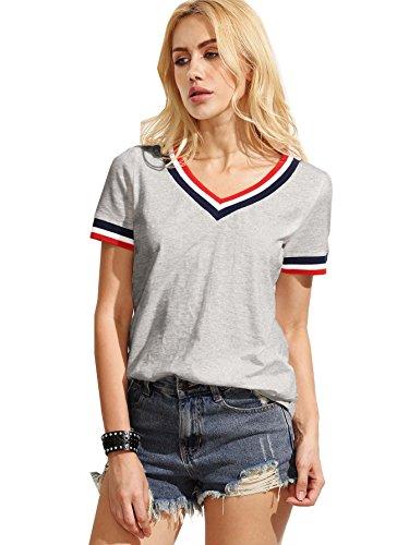 ROMWE Damen Sportlich T-Shirt V Ausschnitt Kurzarm Top Grau L