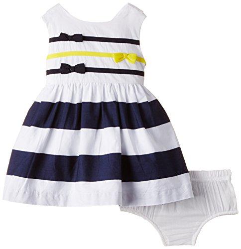 Nauti Nati Baby Girls' Dress (NSS15-20_White and Navy_12 - 18 months)