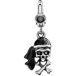 Abalorio de plata de ley con diseño de calavera pirata.